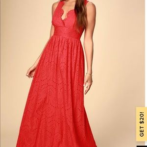 Red Eyelet Lace Maxi new with tags